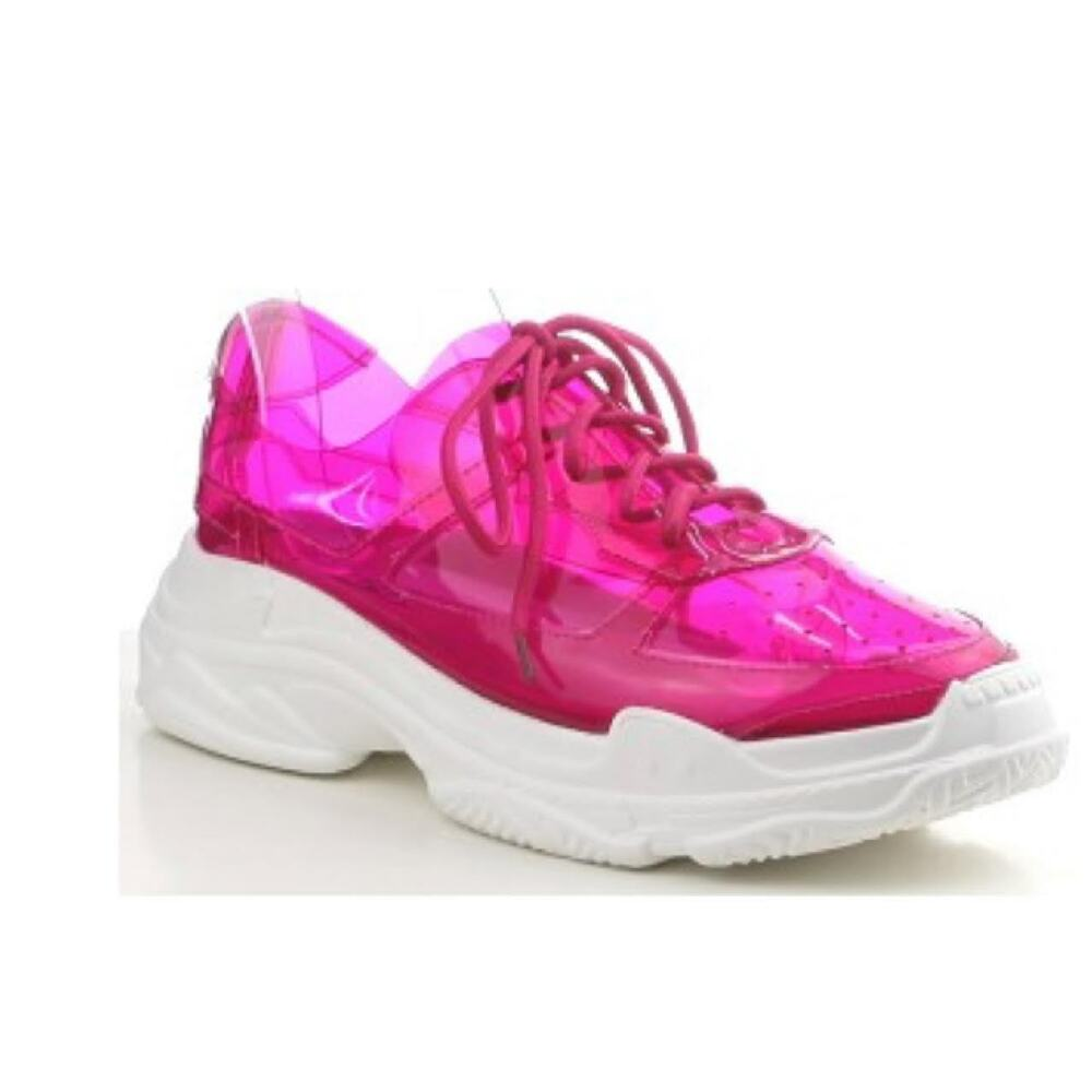 41fc143229b3 Details about Cape Robbin SPIRIT Fuchsia Pink Clear Transparent Jelly  Athleisure Sneaker