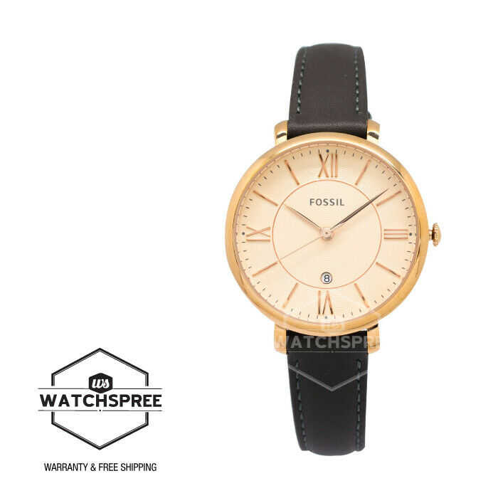 Fossil Jacqueline Gray Ladies Leather Watch Es3707 796483137349 Ebay Rose Gold