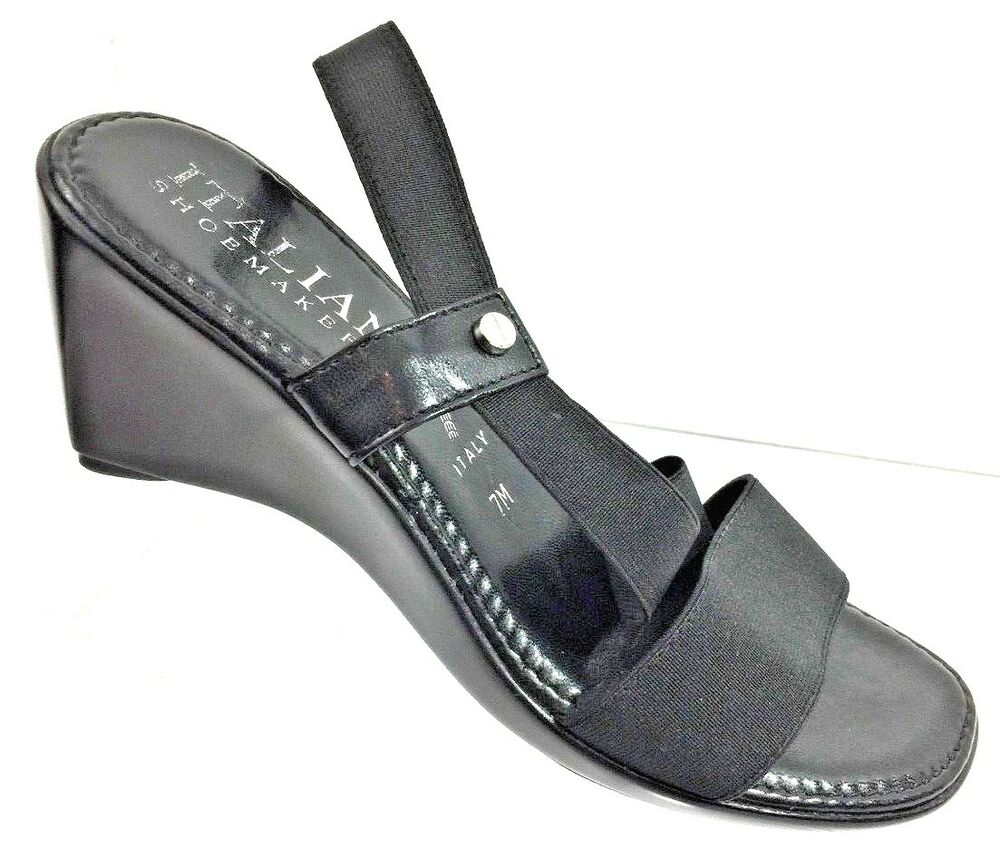 4d18ebc2e151 Details about Italian Shoemakers Womens Black Wedges Strap Sandals Made  Italy Shoes Size 7M