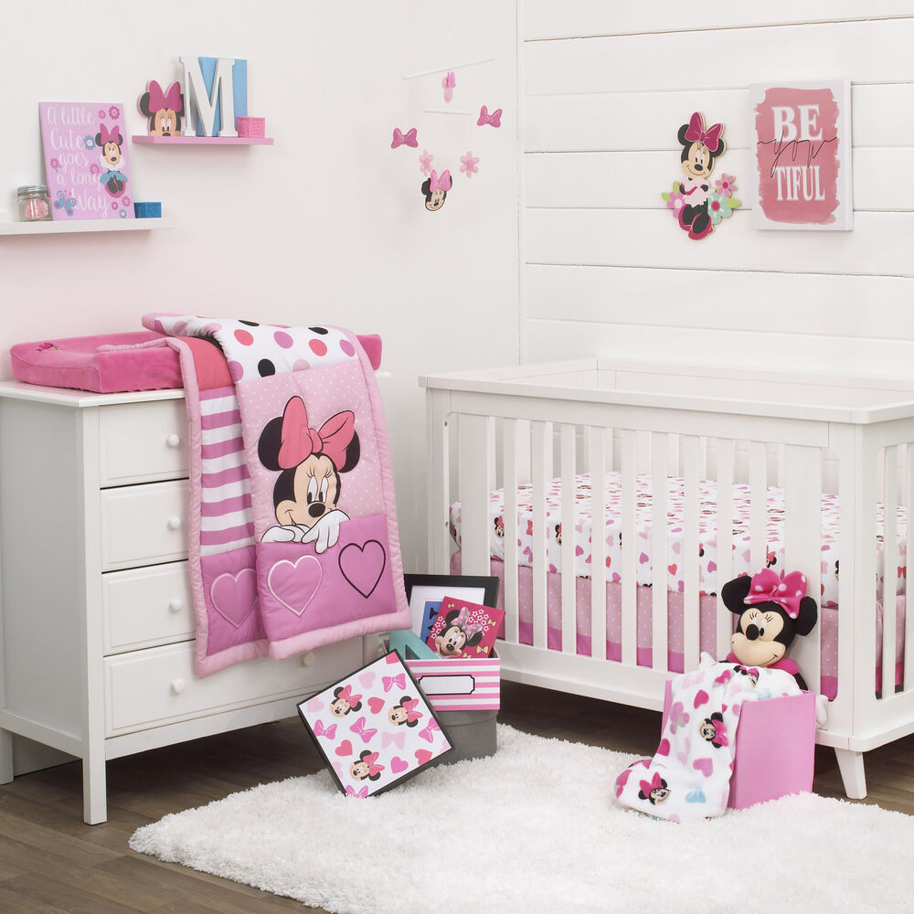 Disney Minnie Mouse Loves Dots 3 Piece Baby Crib Bedding ...