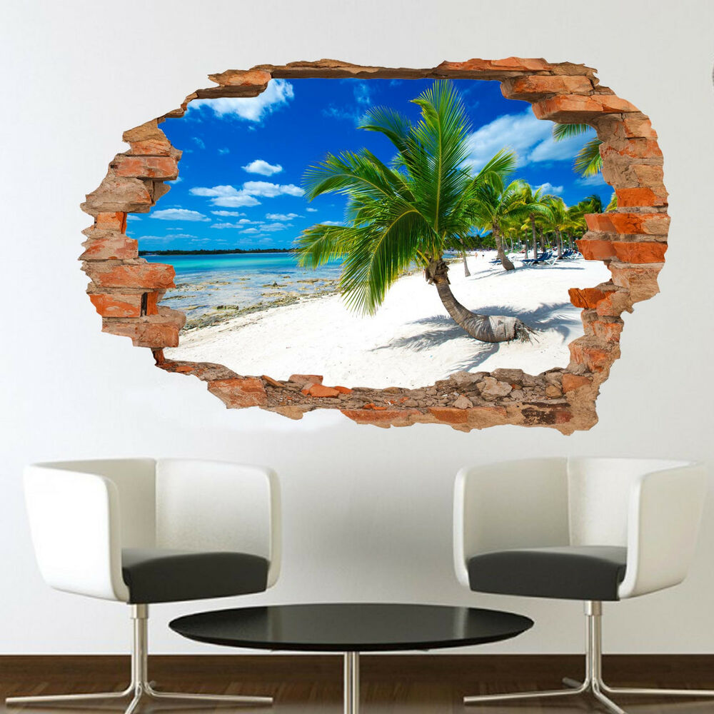 Details About Palm Trees Sandy Tropical Beach Wall Mural Art Sticker Poster Effect Ss5
