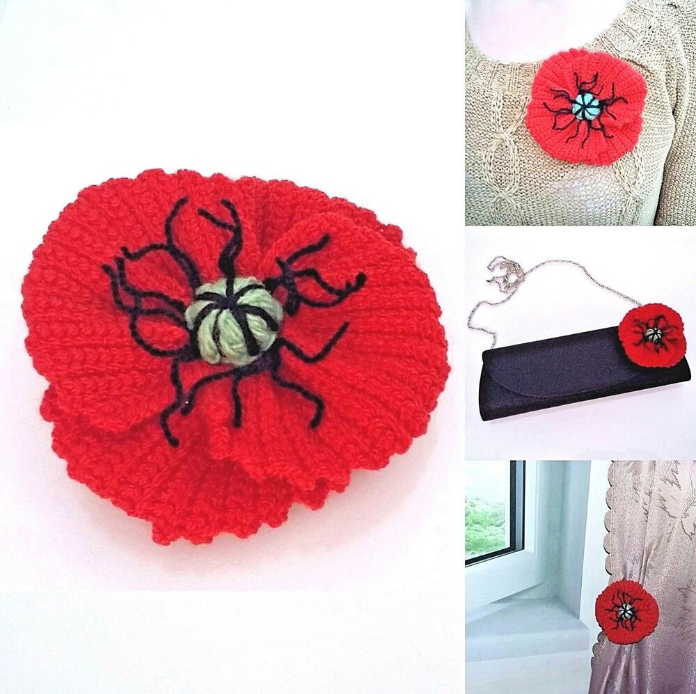 Brooch Red Poppy Flower Handmade Knitted Crocheted Decor Remembrance