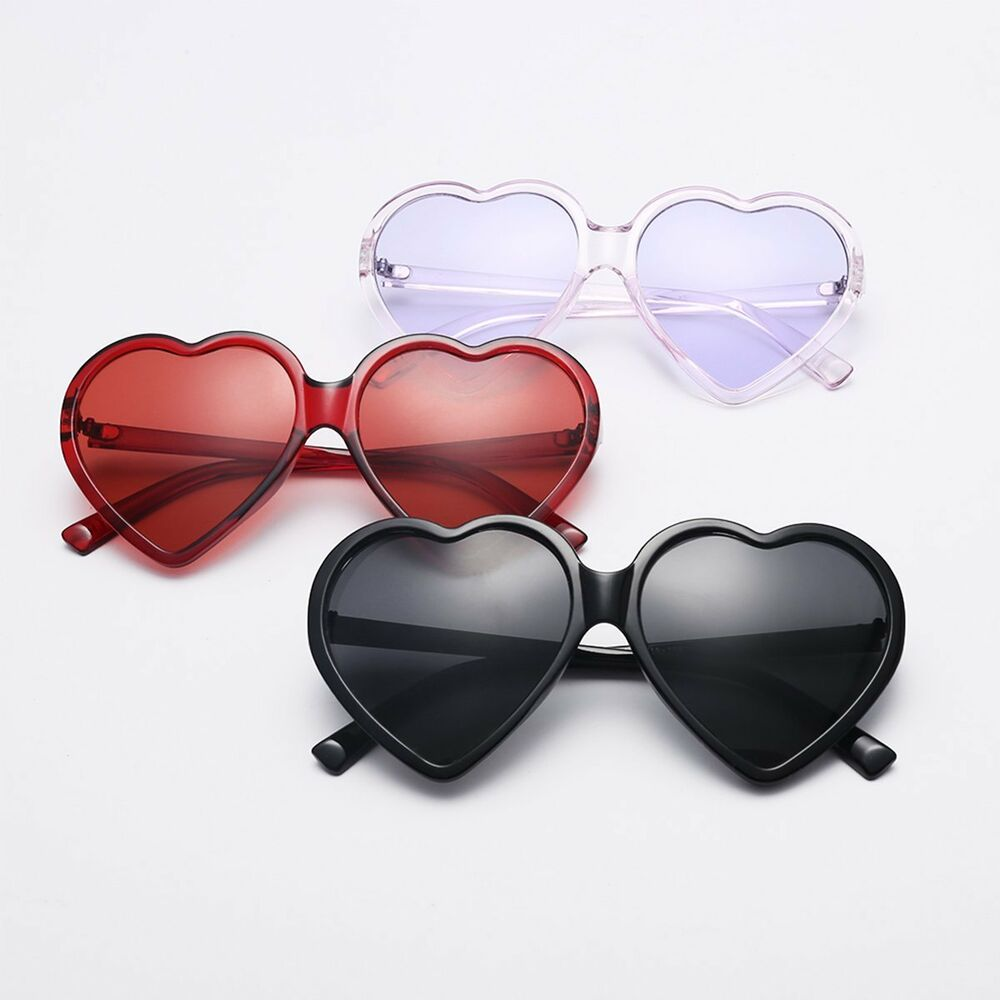 bf7a367a316 Details about Women Retro Mirrored Sunglasses Oversized Heart Shape Glasses  Eyewear