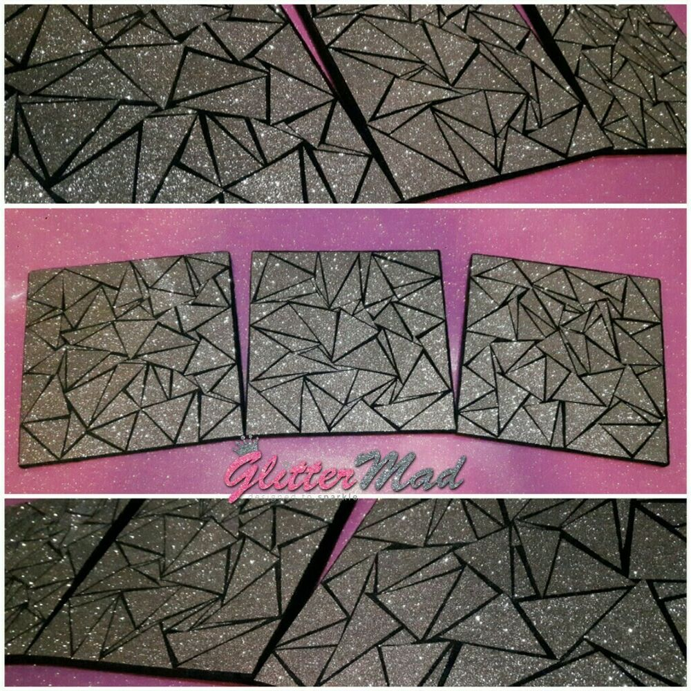 Details about 3 Black Silver Glitter Mosaic beautiful Wall Art Pictures  Truely Sparkle canvas 0db1fb1c4c