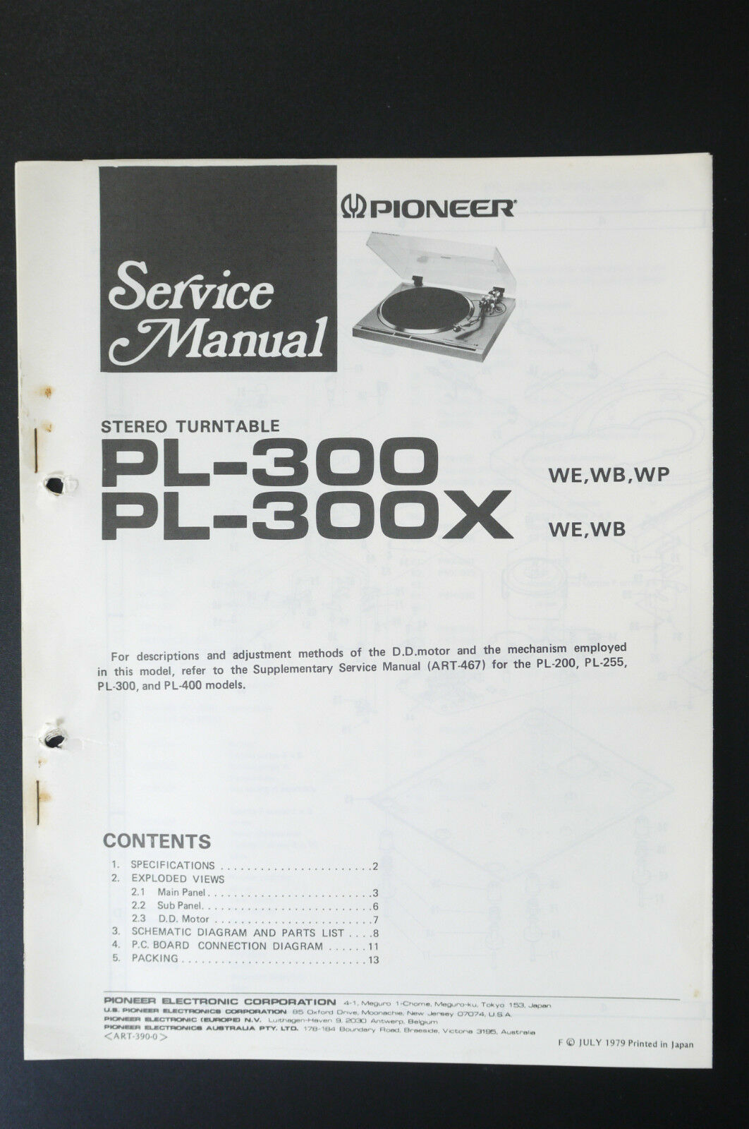 Manuals Resources Prices On Daasy Page 18 Pioneer Electronics Wiring Diagram Pl 300 300x Original Service Manual Guide O25