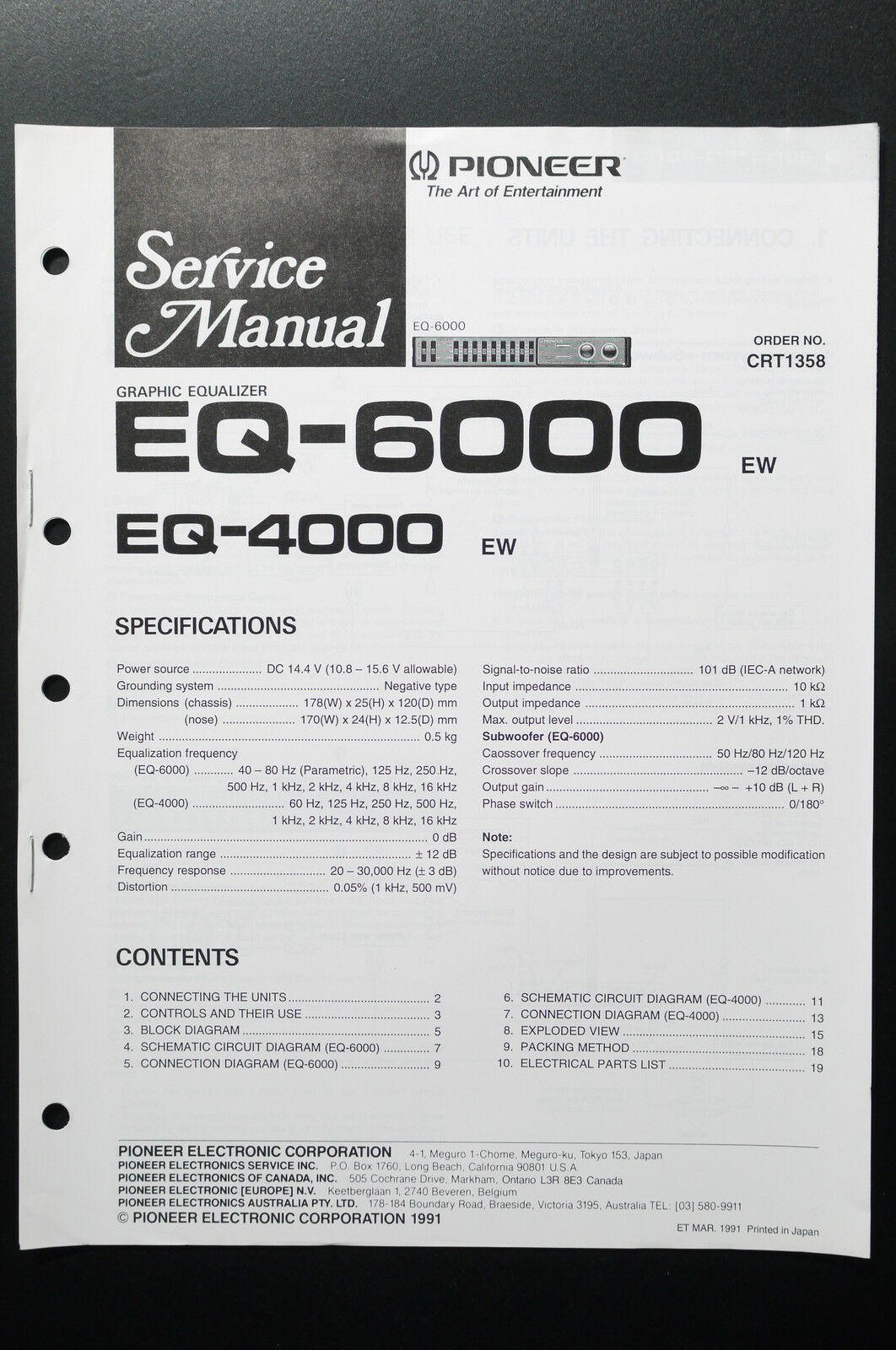Pioneer Eq 4000 Wiring Colors Electrical Diagrams Stereo Equalizer Diagram Manuals Resources Prices On Daasy Page 6