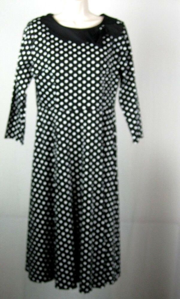 4a0f98d3a8eec Details about Vintage Style 50S Swing Pinup Retro Party NWT SZ 6 Black/White  Polka Dot Dress