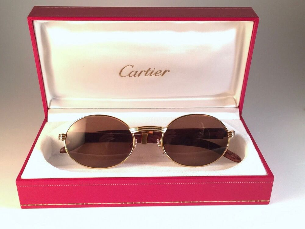 8daec48da3 VINTAGE CARTIER GIVERNY GOLD   WOOD 49 20 SMALL BROWN LENSES FRANCE  SUNGLASSES