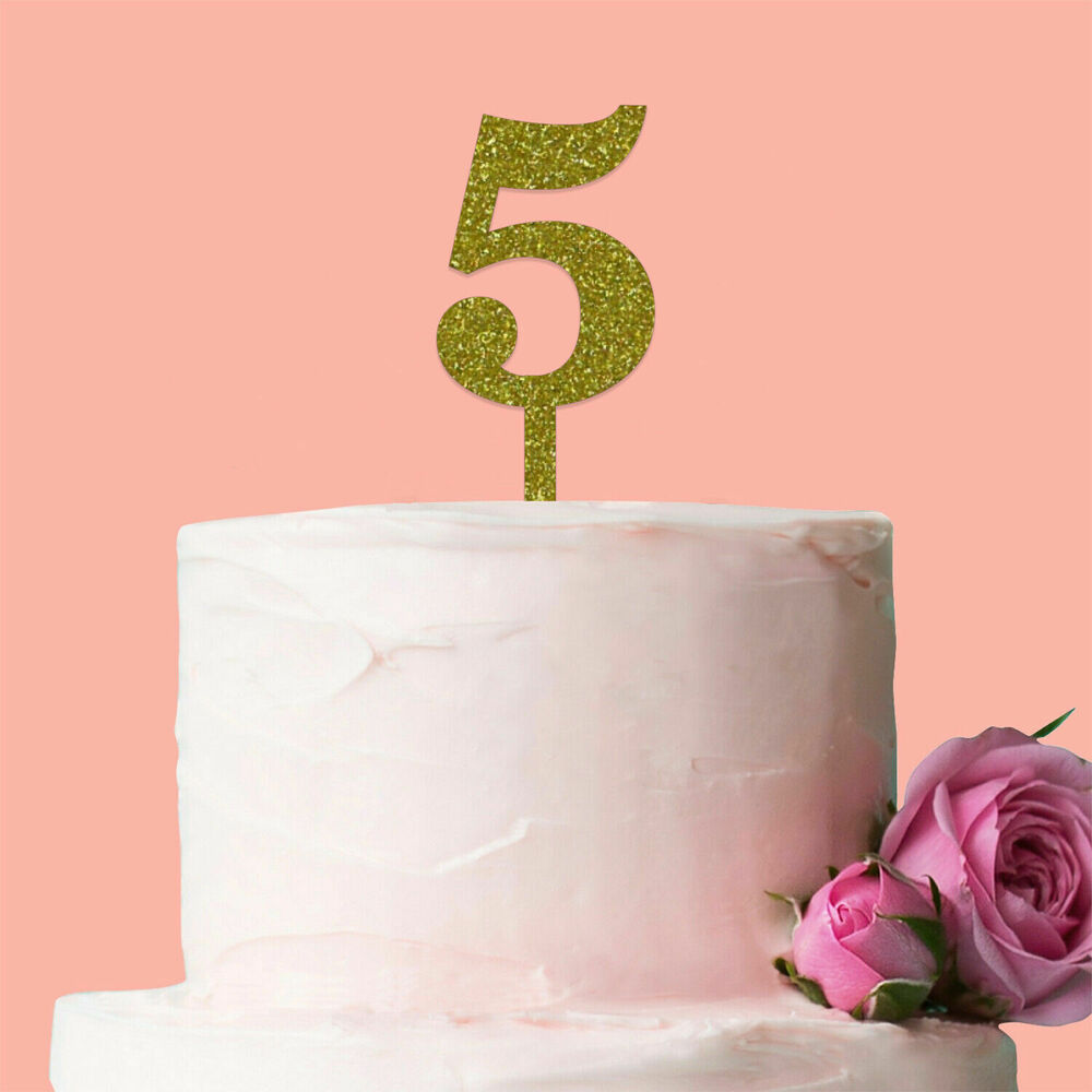 Details About Number 5 Cake Topper Glitter Gold Birthday Decoration Present Gift Idea Candle