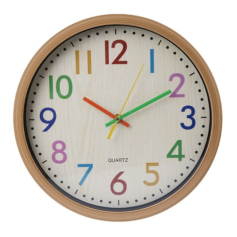 Cute Wall Clock Silent Non-ticking Colorful Number Children\'s ...