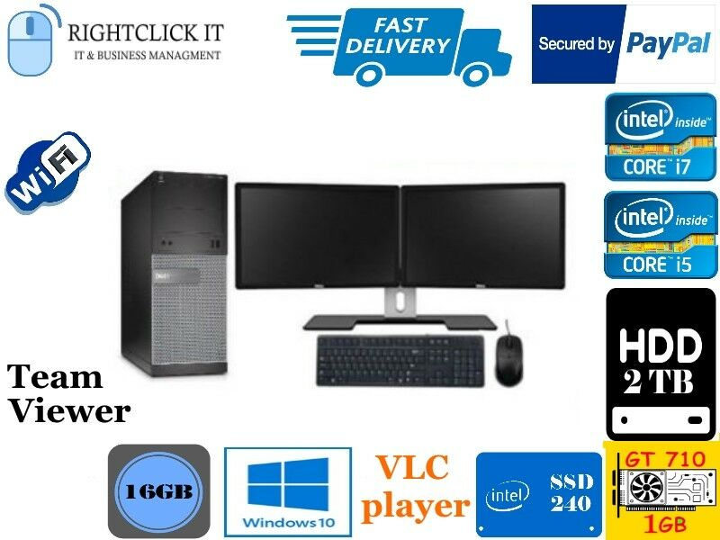 Dell Dual Screen Core I5 Core I7 Desktop Tower Pc Lcd Win10 8gb 16gb 2tb Ssd Ebay