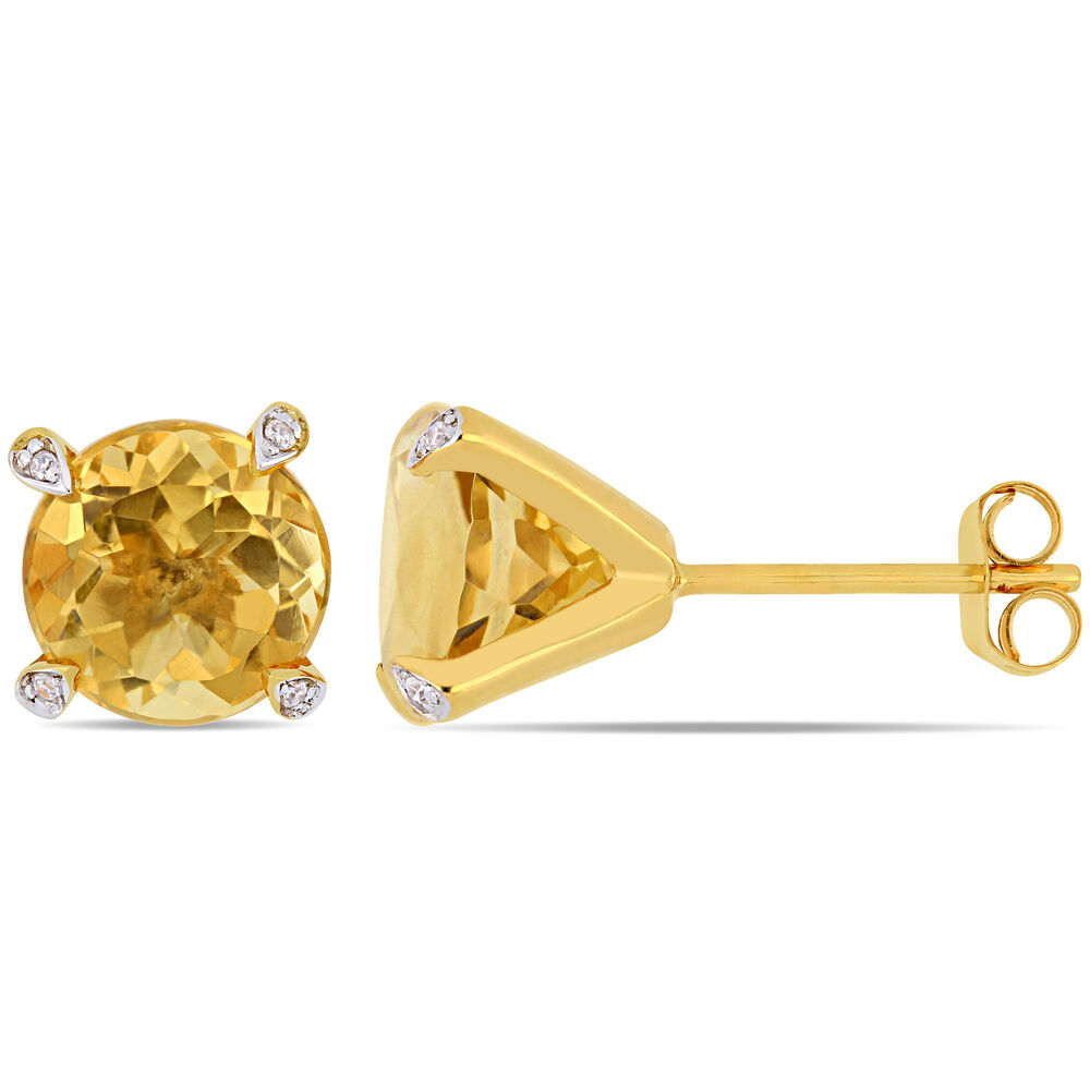 e62ce1b3eaa1e 10KY Citrine Diamond Accent Stud Earrings | eBay