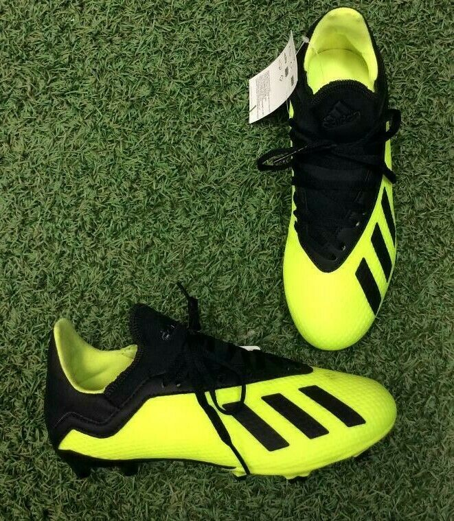 7809db22a Details about Adidas Junior X 18.3 FIRM GROUND CLEATS Soccer Shoes Black  Solar Yellow DB2418