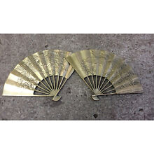 Vintage Chinese Asian Brass Fan Pheasant Bird 12