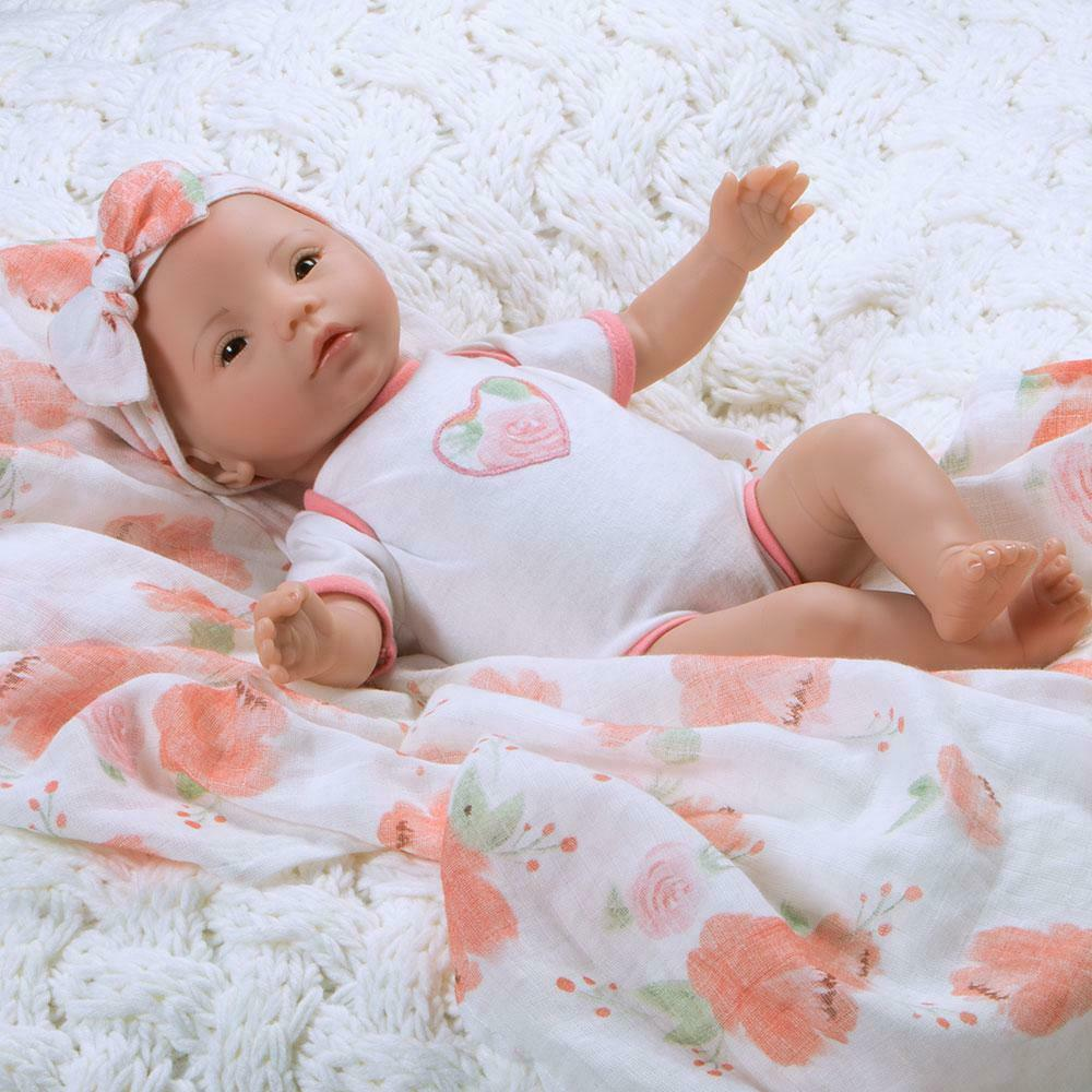 fbea5e098c Details about Paradise Galleries Reborn Baby Doll SWADDLERS  PEACH BLOSSOM