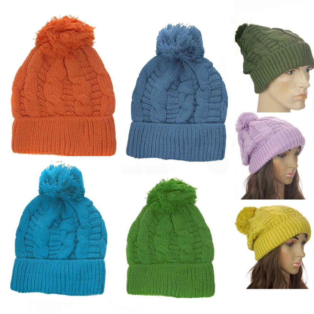 dacce96020f Details about Chunky Knitted Oversized Winter Men Ladies Girls Boys Slouch  Beanie Bobble Hat