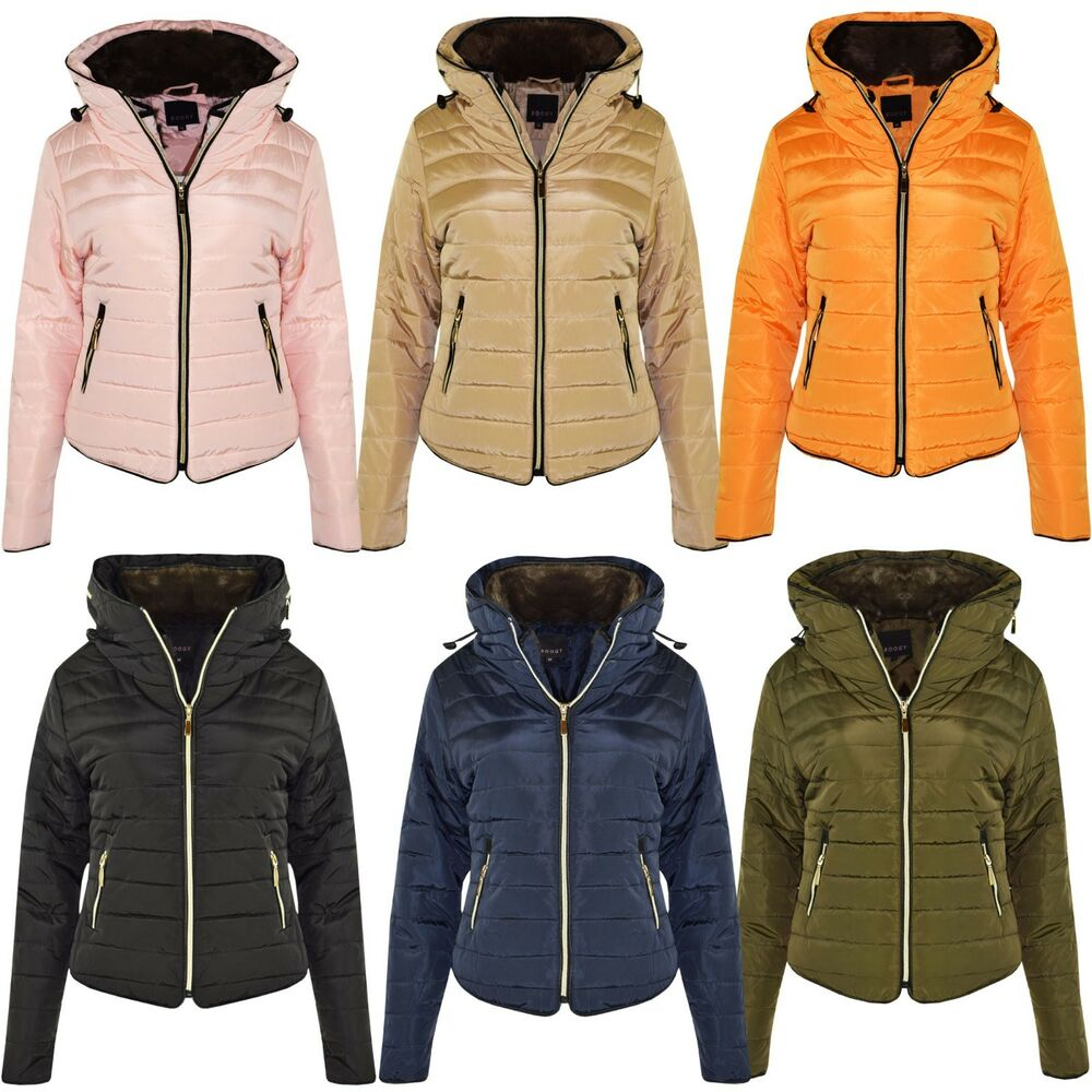7e71a3a5 Details about New Ladies Quilted Padded Puffer Bubble Fur Collar Warm Thick Womens  Jacket Coat
