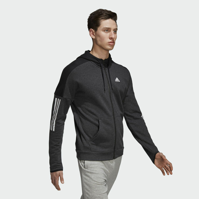 a6faa01c6dd Details about Adidas Men Hoodie Training Sport ID Logo FT Zip Running  Athletic Gym New DM2804