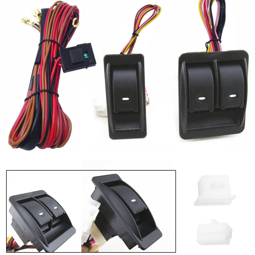 12v Universal Car Auto Power Window Switch Kits W Wiring Harness For Holder