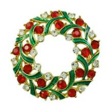 Red Crystal and Green Enamel Christmas Wreath Brooch Pin