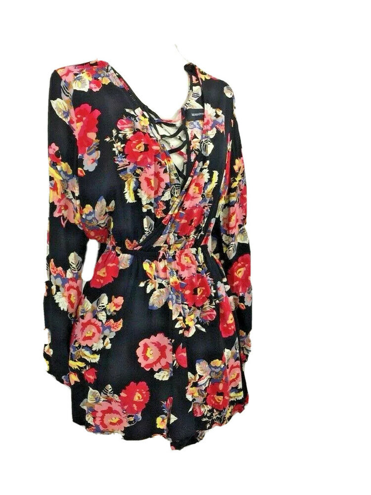 1641b07e89 Details about Mink Pink Size S Playsuit Black with Bright Floral Shorts    Long Sleeves
