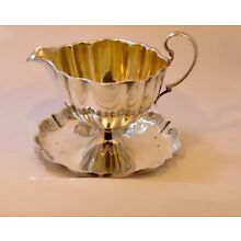 Sterling Silver & Gold Wash  Greenleaf & Crosby  Gravy Boat & Fixed Underplate