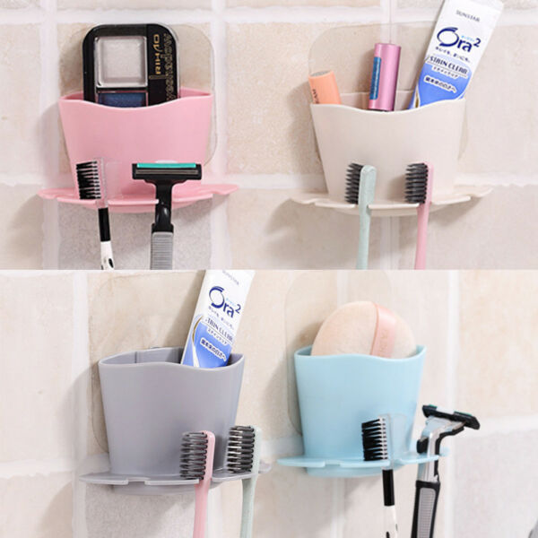 Bathroom Toothbrush Toothpaste Wall Mount Holder Sucker Suction Cup Organizer US