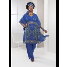 Ashro Blue Gold Ethnic African American Pride Pant Suit Head Scarf Included 1X