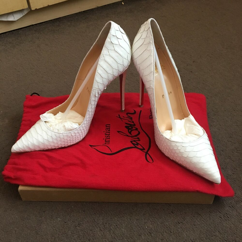 10099d3e21d Details about Christian Louboutin So Kate Python Crystal Very Rare White!!!  Size 6