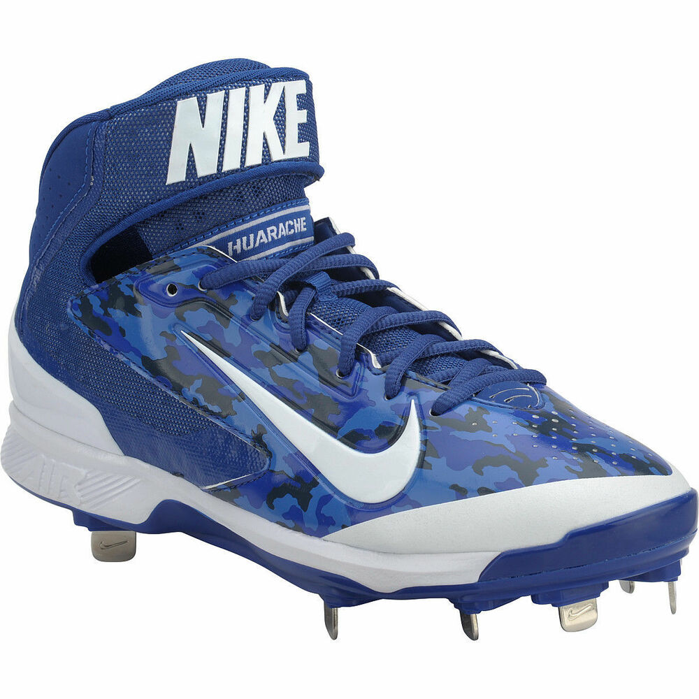 9145f4cf6b26f Details about Mens Nike Air Huarache Pro Mid Metal Baseball Cleats ROYAL BLUE  WHITE CAMO 12
