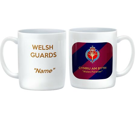 img-CUSTOMISED Welsh Guards Ceramic Mug with regimental badge on Brigade Tie colours