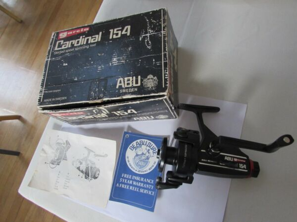 excellent vintage Abu Garcia Sweden cardinal 154 spinning fishing reel boxed etc