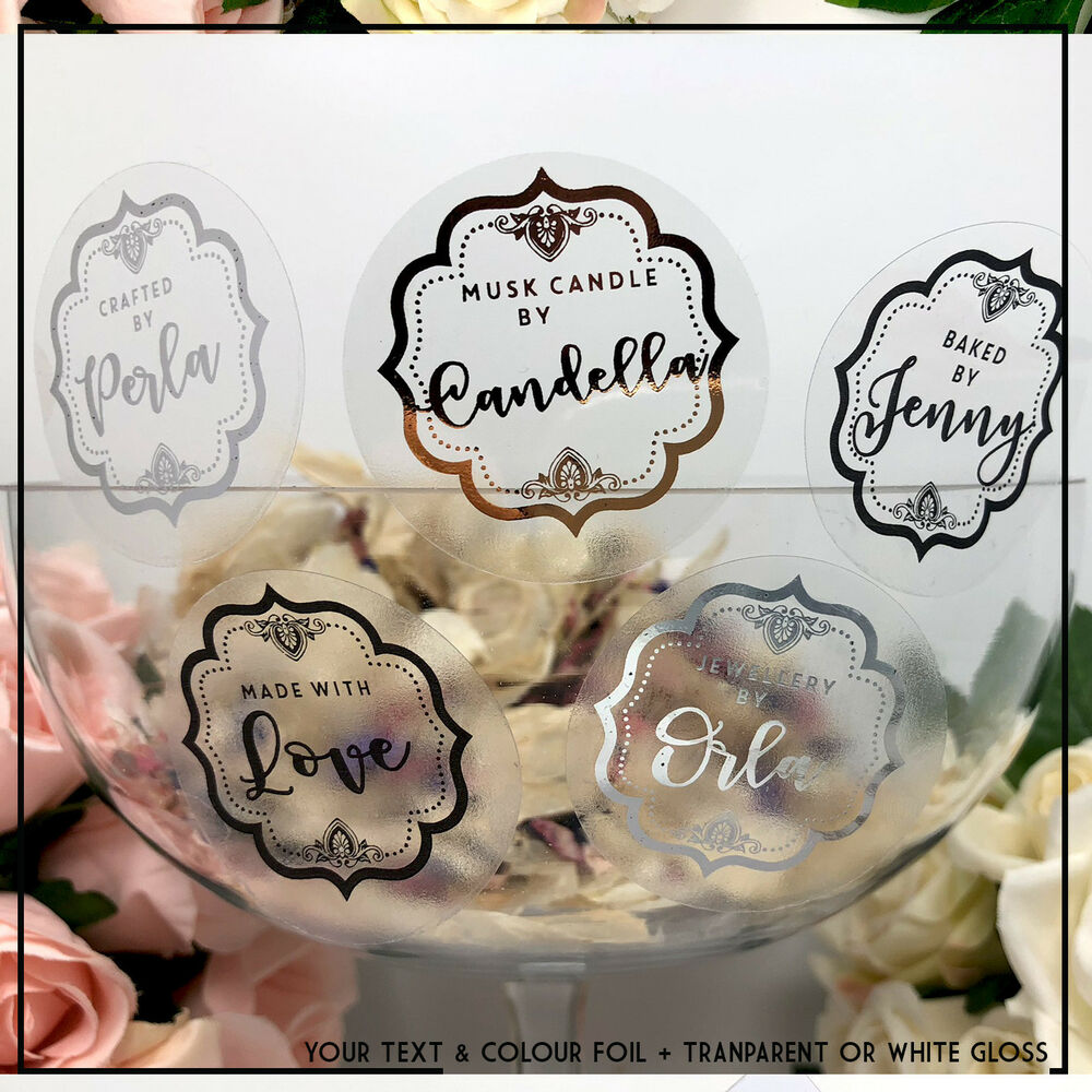 Details about personalised transparent stickers custom label transparent personalised x 24