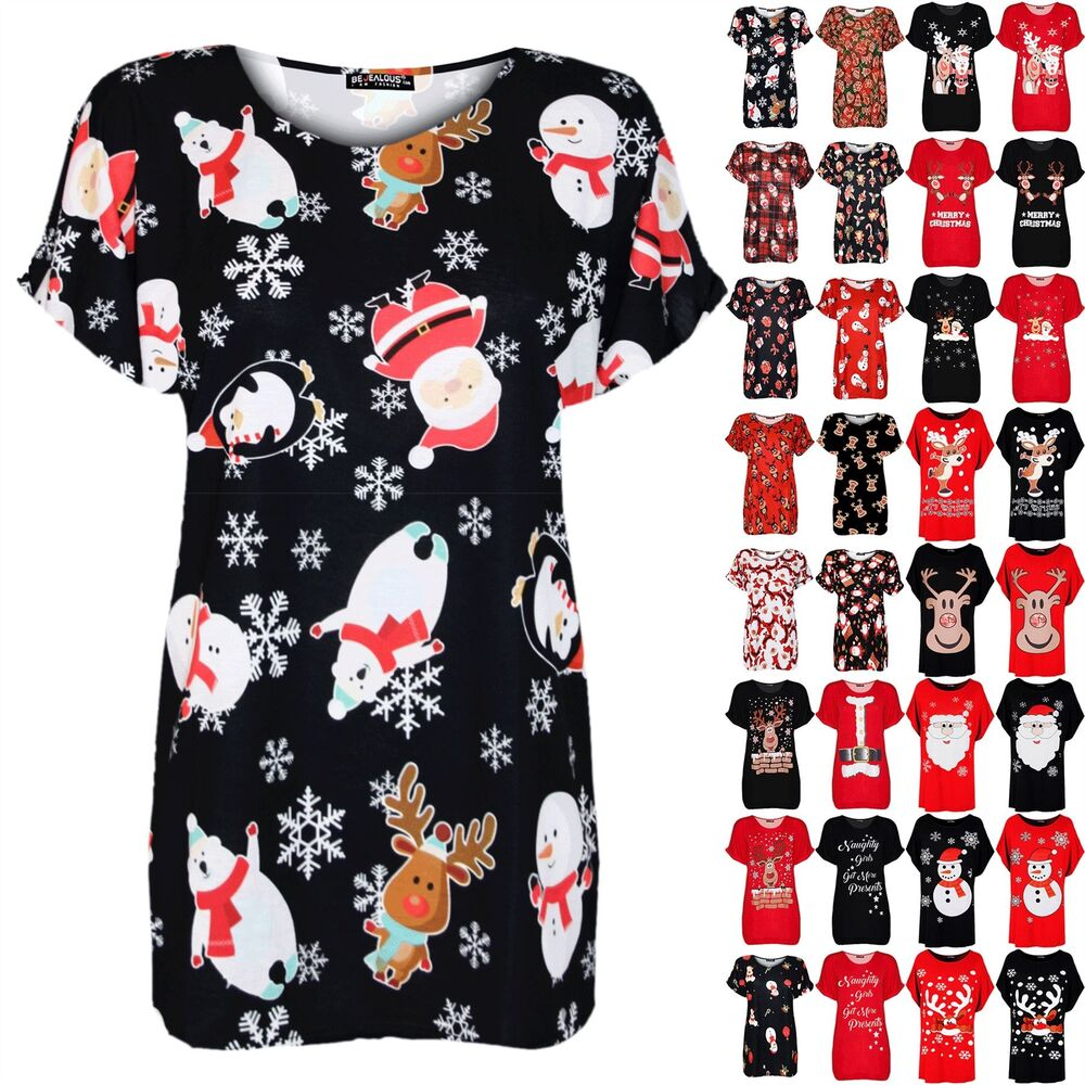 b2ad7fa9c83 Details about Womens Ladies Xmas Christmas Santa Reindeer Oversize Top Turn  Up Sleeve T Shirt