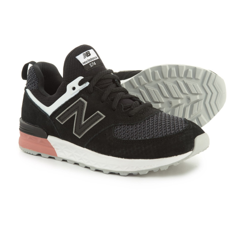 5352a86bb03 Details about New Balance 574 Sport Suede Leather Shoes Black Dusted Peach  Little Kid Boys