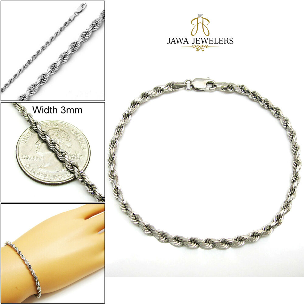 <b>10K White Gold</b> Mens <b>Womens</b> Diamond Cut Rope Chain Bracelet ...