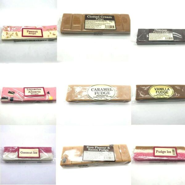 Fudge Sweets Nougat Bar Peanut Chocolate Liquorices Coconut Ice Made in England