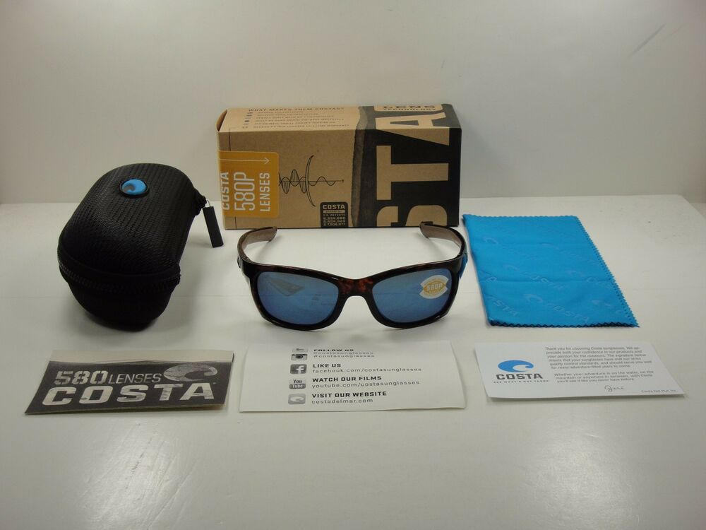16ab7ae128 Details about COSTA DEL MAR TREVALLY POLARIZED SUNGLASSES TORTOISE BLUE  580P LENS GT10 OBMP