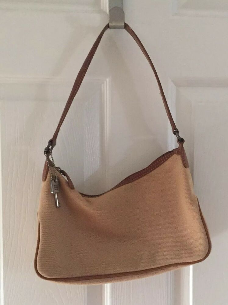 905aabd44 Details about Fossil Womens Small Hobo Bag Tan w/ Leather Trim Purse  Handbag Leather Canvas