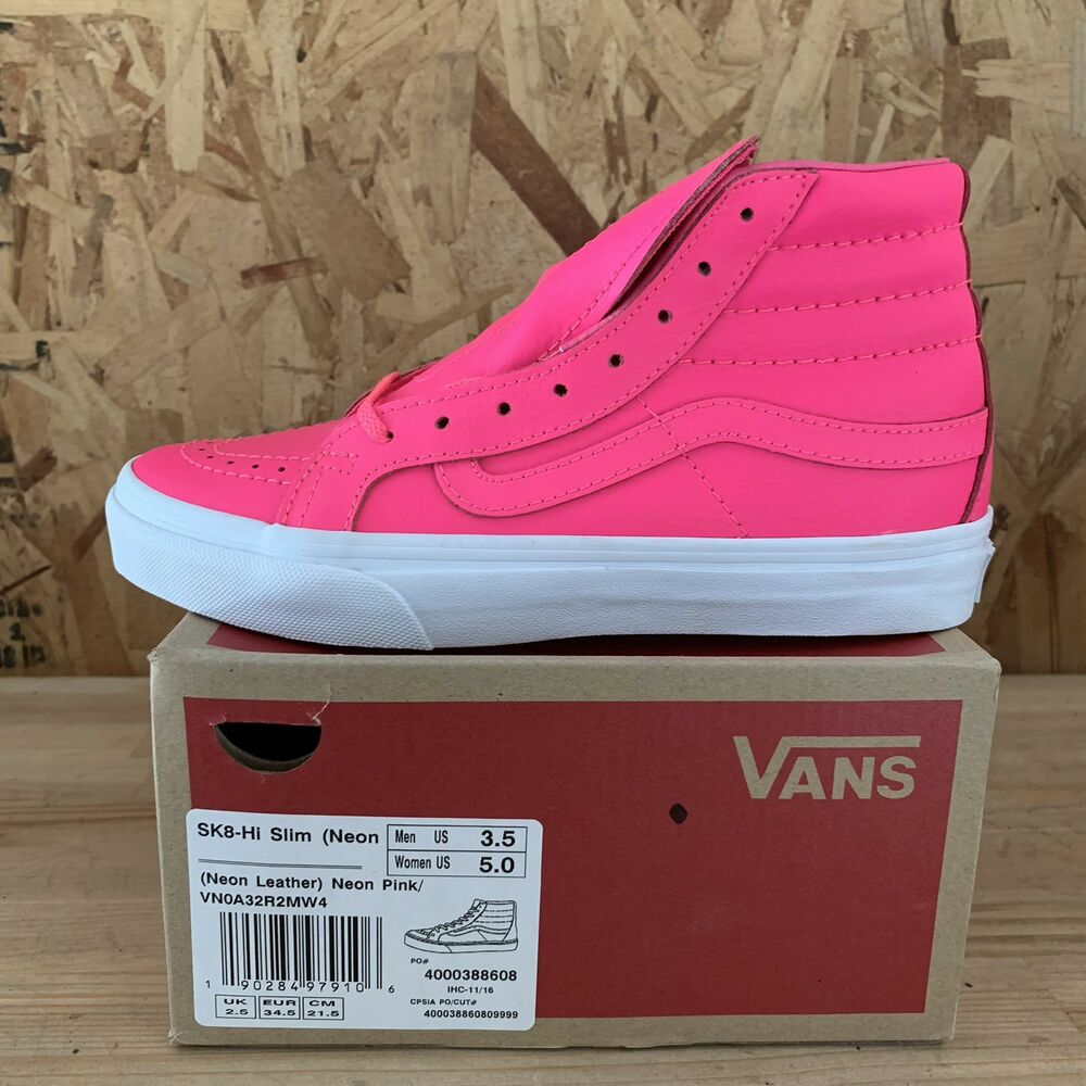 3b393a3eda Details about Vans Sk8 Hi Slim (Neon Leather) Neon Pink   White Size Mens  3.5 Womens 5 New