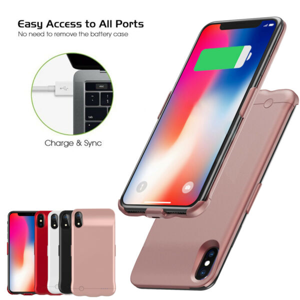 For iPhone Xs Max XS Battery Charger Cover Case External Backup Power Bank Pack