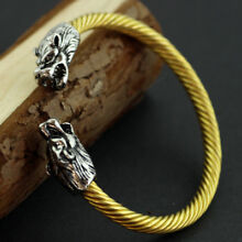 Vikings SILVER & GOLD Sacred Arm Ring Bracelet Norse Fenrir Wolves Heads TRENDY