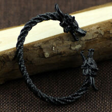 Vikings 2019 BLACKED OUT Sacred Arm Ring Bracelet Norse Fenrir Wolves Heads NEW