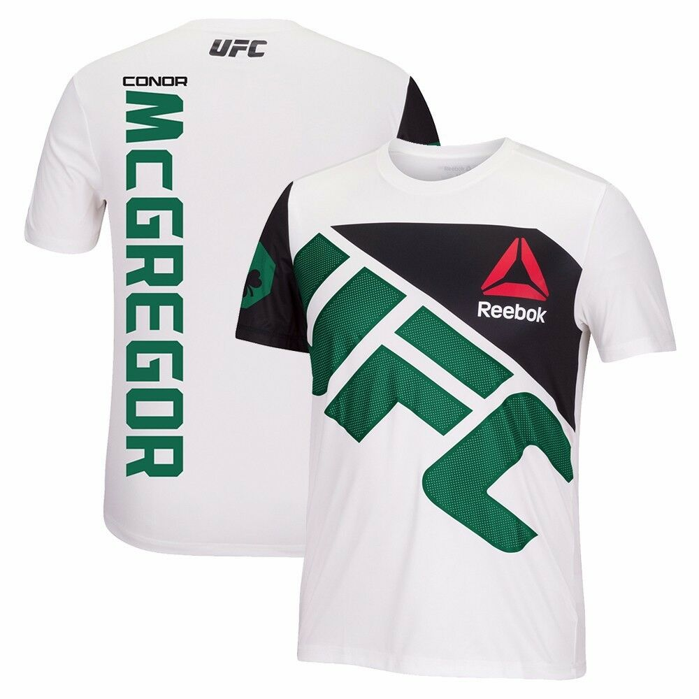 Details about Conor McGregor Reebok UFC Fight Kit Official (White Green)  Walkout Jersey Men s be2d6d630