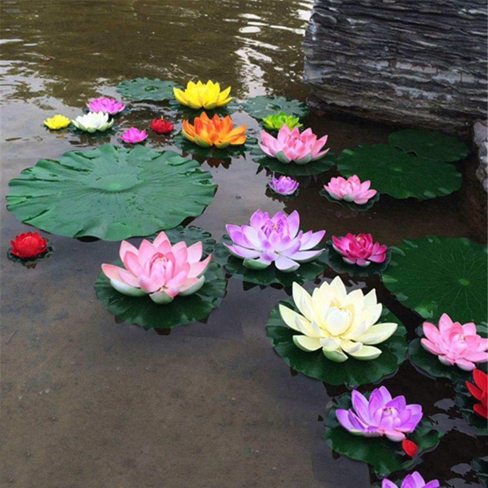 Water Lily Artificial Lotus Flower Floating For Garden Pond Decor