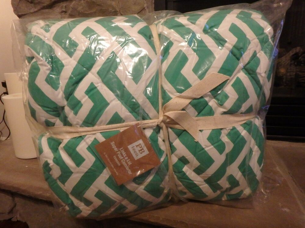Details about POTTERY BARN TEEN PB LINKS A LOT GREEN AND WHITE COMFORTER  NEW XL TWIN