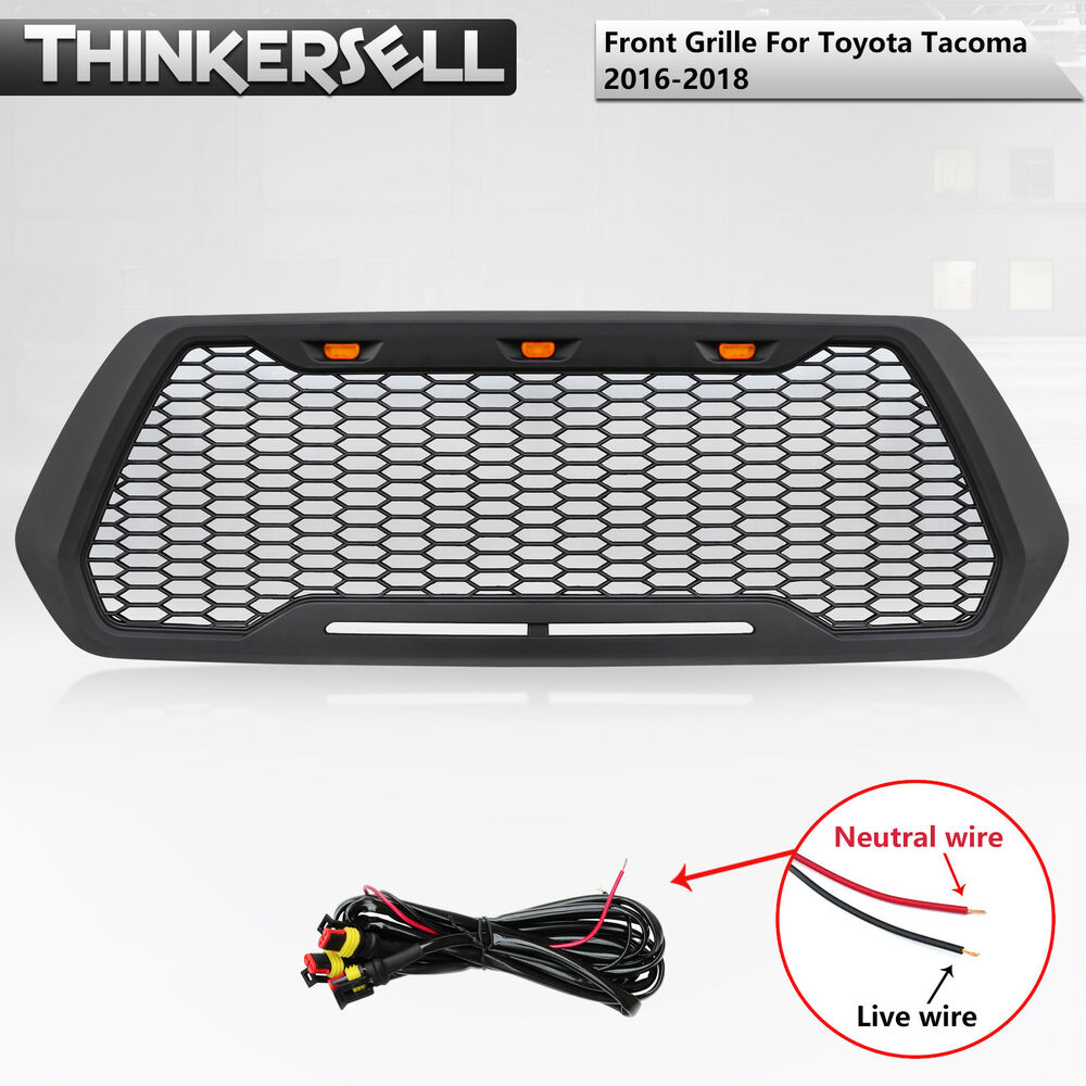 Details About Front Grille Refit Fit For 2016 2018 Toyota Tacoma Trd Pro Insert With Led Light