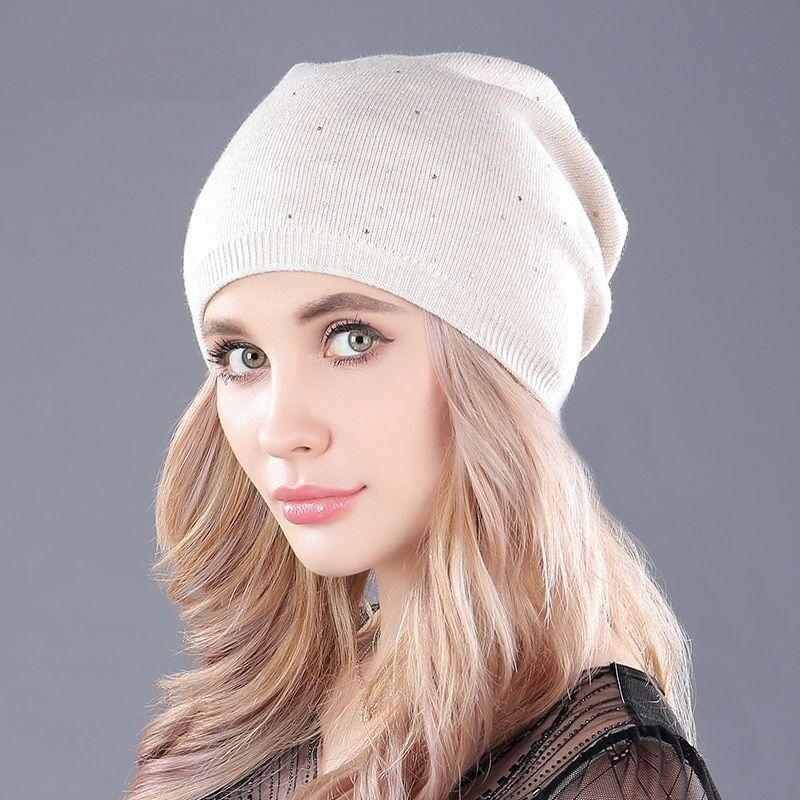 9468e6afa38 Details about Winter Autumn Cashmere Knitted Thick Warm Hats For Women s  Caps Skullies Beanies