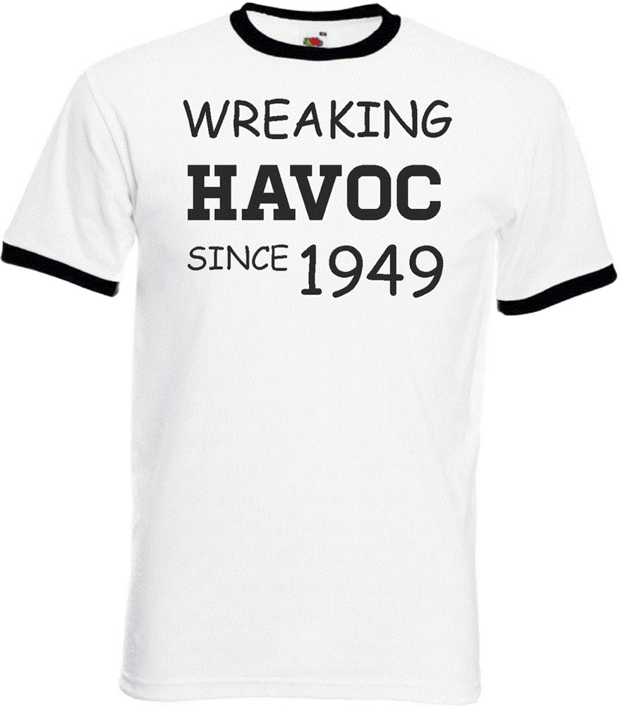 Details About 70th Birthday Gifts Presents Year 1949 Unisex Ringer T Shirt Wreaking Havoc