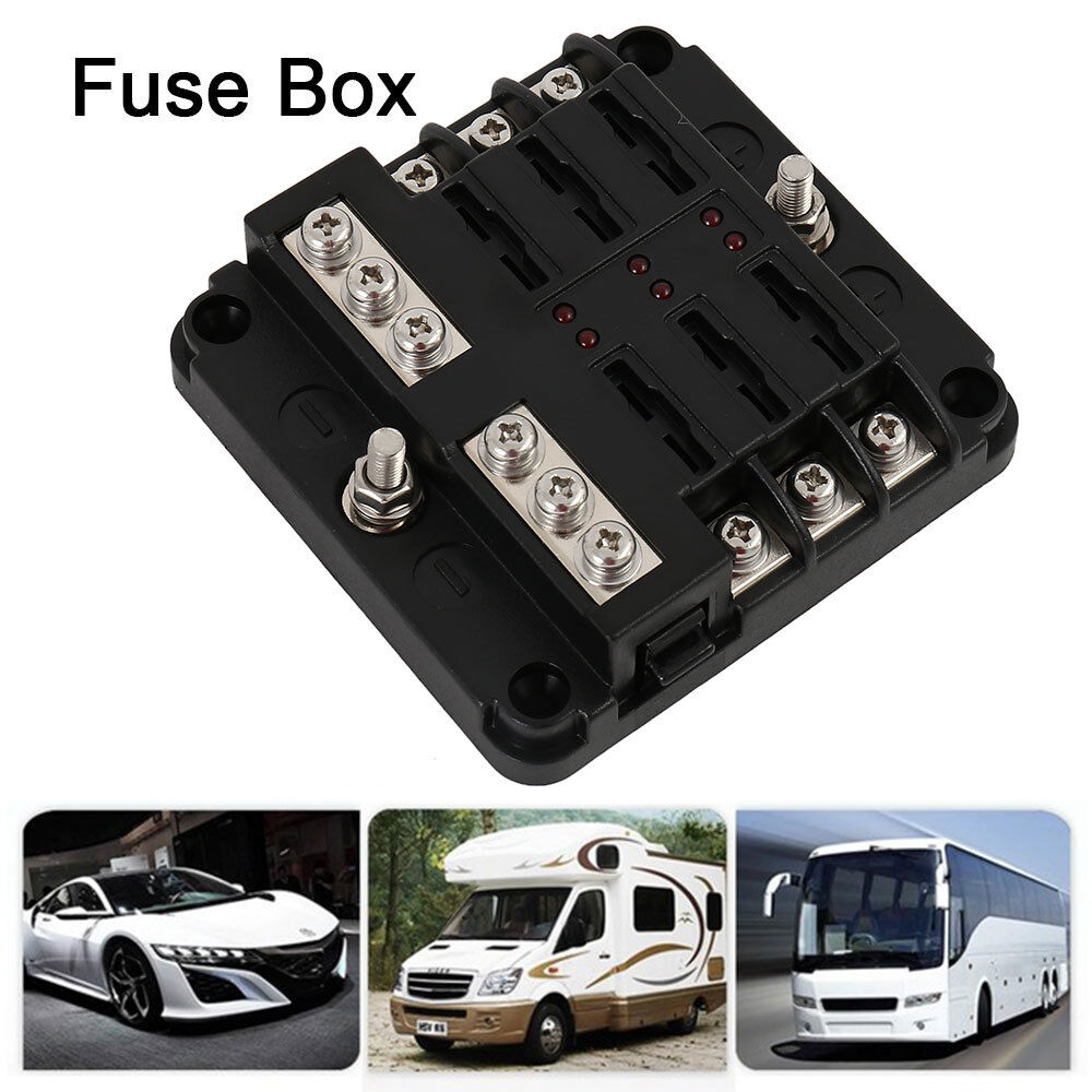 6way 12v 24v auto car power distribution blade fuse holder. Black Bedroom Furniture Sets. Home Design Ideas
